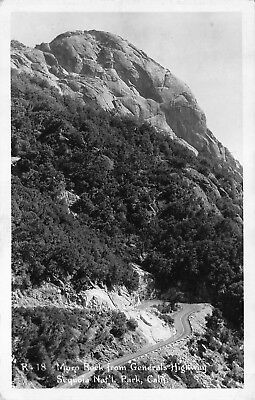 """Sequoia Park, California, """"Moro Rock From Gen's Hwy"""" Rppc Real Photo Postcard"""