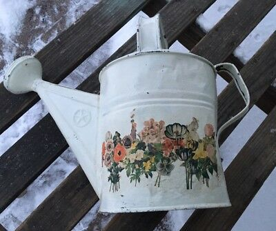 """Vintage Large Galvanized Metal Watering Can~Painted White W/Flowers 13"""" Tall #8"""