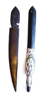 Unique Lot of 2 Dark Wood Carved Letter Openers