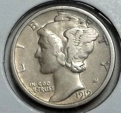 1919-S Mercury Dime ... VF details ... surfaces etched from PVC contamination