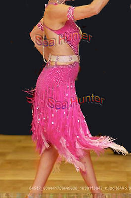 U4884 Ballroom women salsa Latin samba rumba dance dress Feather fur Custom made