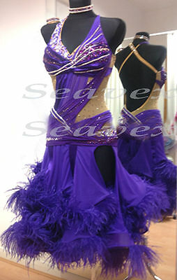U4380 Feather fur Ballroom women chacha Latin samba salsa dance dress US 12