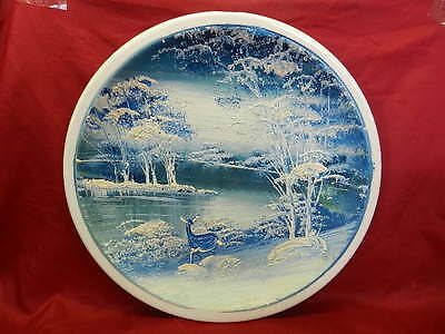 Gorgeous 1975 Hand Painted Lake Trees Deer Plate Signed & Dated  Spencer #1598