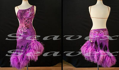 U4118 Feather fur Ballroom women chacha salsa Latin swing samba dance dress US 8