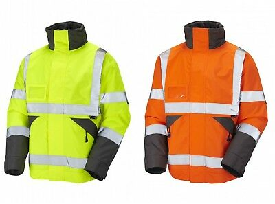 Leo Workwear Bickington Hi Vis Waterproof Mens Jacket Fleece Lined Coat Bomber