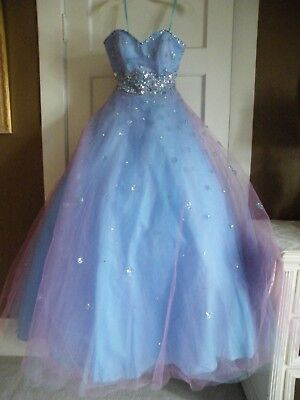 Ballgown or Quinceanera gown. Unusual color; iridescent in appearance, size 5.