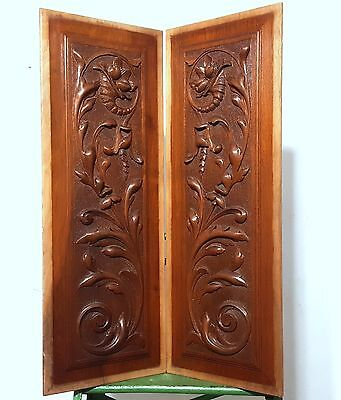 Carved Wood Panel Matched Pair Antique French Horn Of Plenty Salvaged Carving
