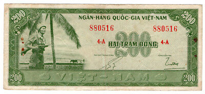 South Vietnam 200 Dong. Very Rare. Circulated condition
