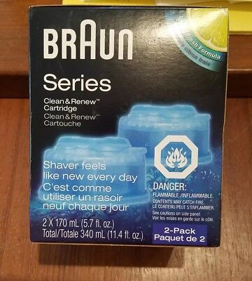Braun CCR2  2-Pack Clean & Renew Cleaning Fluid Cartridge / Brand New & Sealed