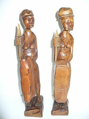 """Lot of 2 African Male Naked figures 13"""" N088"""