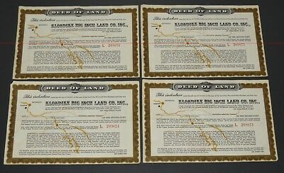 (4) Klondike Big Inch Land Co. Deeds - 1955 Sgt. Preston Quaker Oats Premiums!