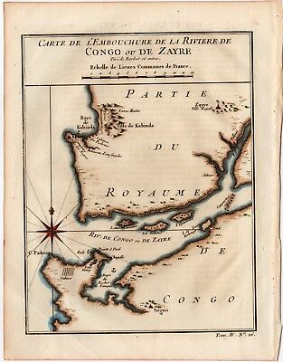 1747 PREVOST BELLIN Antique H/C Map:  RIVER CONGO, WEST AFRICA, DECOR, GIFT