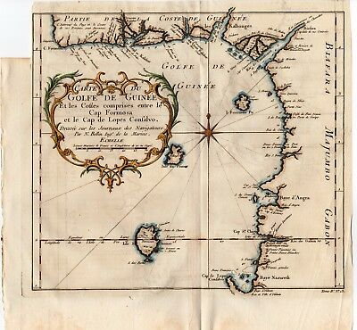 1747 PREVOST BELLIN Antique H/C Map: GOLF OF GUINEE, WEST AFRICA DECOR GIFT