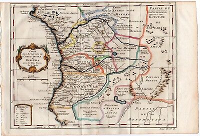 1747 PREVOST BELLIN Antique H/C Map: CONGO ANGOLA, WEST AFRICA DECOR GIFT