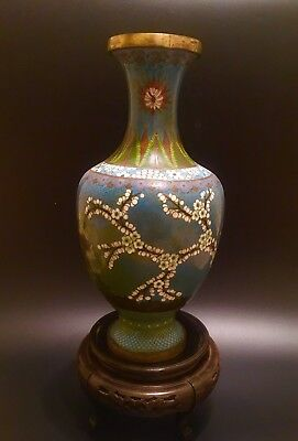"""Vintage CLOISONNE VASE Yellow Green Brown Floral 12.5"""" Tall"""