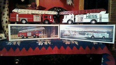 Lot of 2 Vintage Hess Fire Trucks - Red & White.  1986 & 1989.