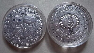 Belarus 20 rubles 2009 GEMINI Sign of the Zodiac Silver925 Antique there are all