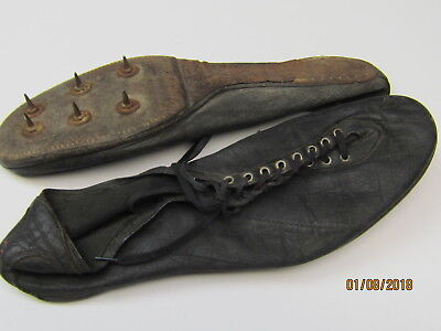 OLD ANTIQUE LEATHER TRACK SHOES, METAL SPIKES, GOOD COND., CIRCA 1920s