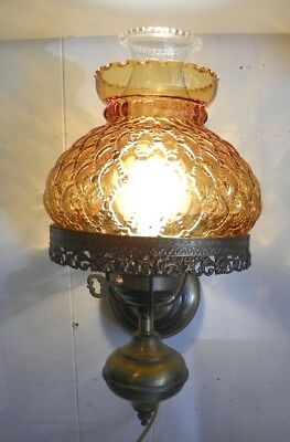 Vintage Amber Glass Wall Hung Lamp Sconce, Fluted / Quilted Glass, Antique Gold