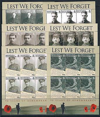 B.I.O.T.2008 90 yrs.of Remembrance 6v SHEETS SG 385/90 MNH
