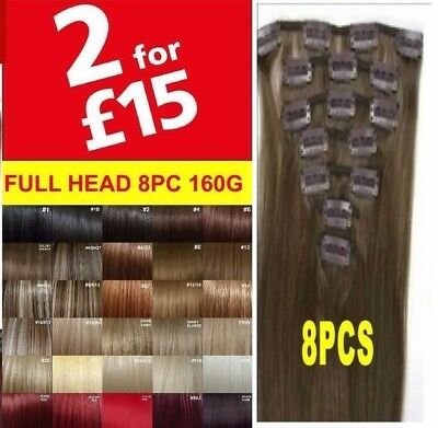 100% Real Thick Clip In Hair Extensions Long Curly Full Head Hair Extentions