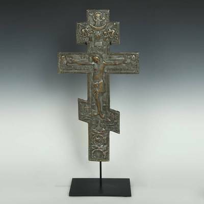 Antique Russian Old Believers Ceremonial Cross Jesus Bronze Silver Early 19Th C