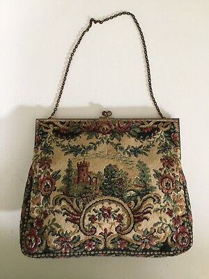 Vintage French Tapestry and Brass Purse Excellent Condition
