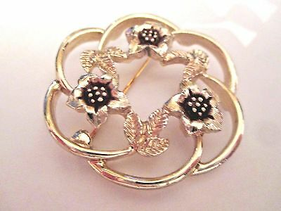 Vintage Signed Sarah Coventry Strawflower wreath pin brooch FREE SHIP flower