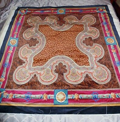 """Rare Large Vintage Versace Atelier Paisley Fabric Panel Wall Hanging 53"""" x 54"""""""