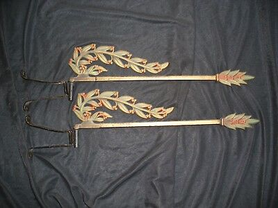 Vintage Swing Arm Ornate Adjustable Cast Iron Curtain Rods With Brackets