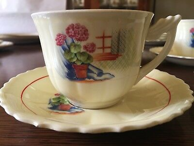 W.S. George, Elmhurst, Potted Plant & Window, Cup & Saucer, Set of 4
