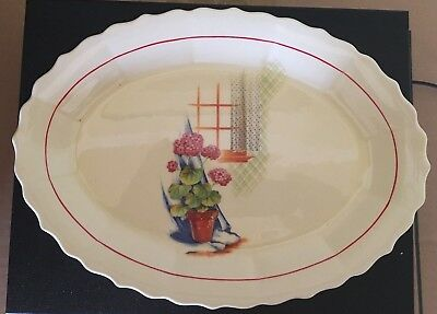 """W.S. George, Elmhurst, Potted Plant & Window, 11"""" Serving Plate"""