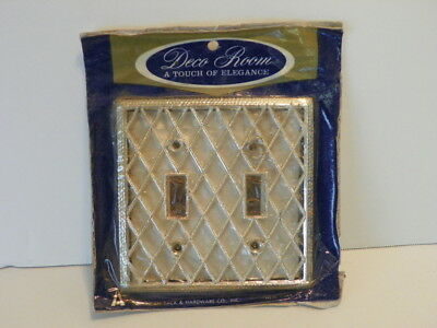 Nos Diamond Pearl American Tack * 2-Gang Toggle Switch Wall Plate Cover