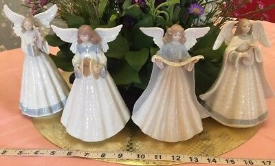 Lot Of 4 Lladro Angels Tree Topper Angel Navidad Cantanto Cymbals Harp EUC