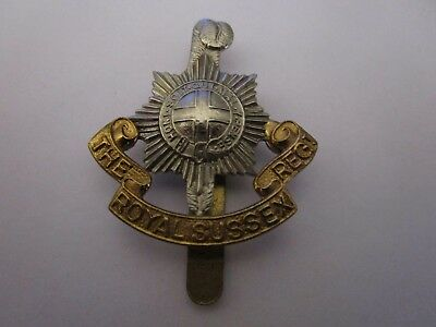 WWI British Army The Royal Sussex Regiment KK646 Bi Metal Cap Badge #1652