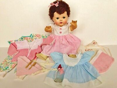 """Vintage 1950s American Character Tiny Tears fur wig 16"""" rubber baby doll 20 pc"""