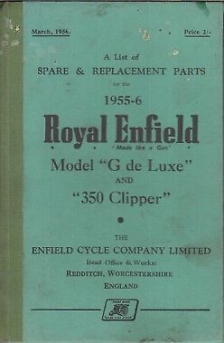 Royal Enfield Model G Deluxe & 350 Clipper '55-56 Factory Illustrated Parts List