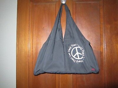 NEW Peace Love World East West Duffel Bag Black Peace Sign