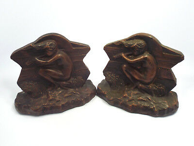 Vtg Art Nouveau Plaster with Bronze Color Finish of Girl Playing Flute Bookends
