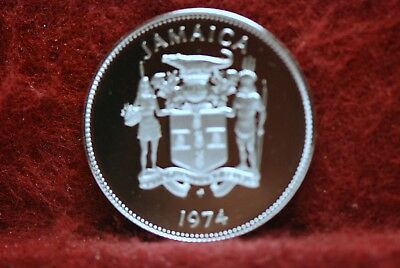 Jamaica, 1974 25 Cents, KM56, Proof, NR            @New Intl Postal Rate@    4cl