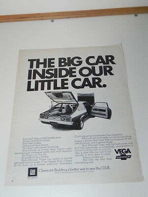 Vintage Ad from Life Magazine 1972: The Big Car inside our little Car VEGA