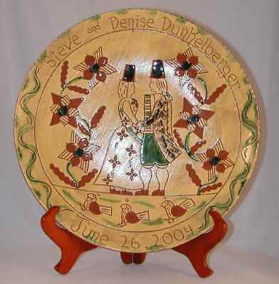 2004 Breininger Redware Glazed Sgraffito Decorated Charger Dunkelberger Wedding