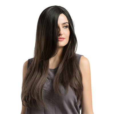 Women Elegant Natural Long Straight Full Wig Gradient Brown Party Cosplay