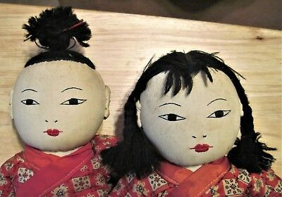 "Vintage Boy & Girl Brother & Sister Ada Lum? Muslin Cloth 13"" Chinese Dolls"