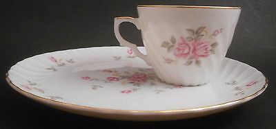 Lefton China Hand Painted Moss Rose Snack Plate & Tea Cup EUC 3171 Tray Roses