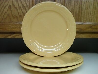 Longaberger Pottery Butternut Yellow Dinner Plates  Set Of Three