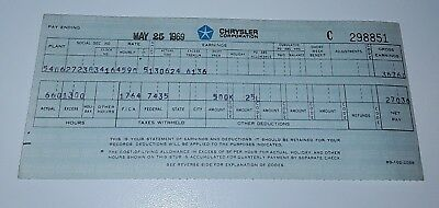 Vintage 1969 Chrysler Corporation Employee Payroll Pay Check Stub