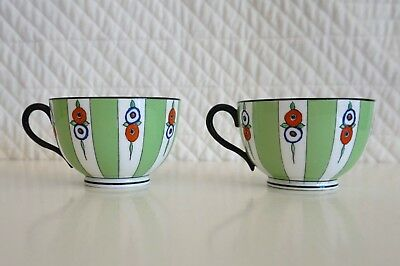 2 Royal Worcester Hand painted Bone China Cups Green Black Red White Royal Blue