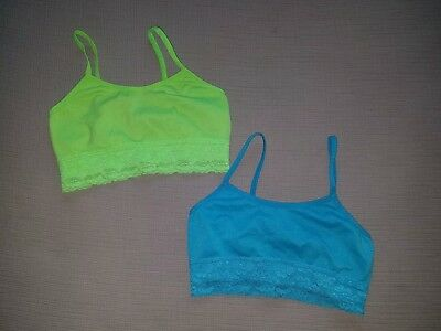 1000% Cute Set of 2 Lime & Turquoise Seamless Bras, Girls L/XL.  *Free Shipping*