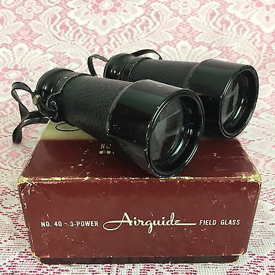 Vintage Antique Binoculars Airguide Field Glass 3 Power No 40 With Box & Case